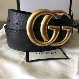 Gold BUCKLE GG Black leather pigskin belt